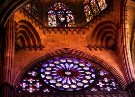 stock photo of atonement  - Ceiling and Stained Glass Windows Temple of Atonement Templo Expiatorio Guadalajara Mexico