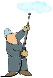 image of pressure-wash  - This illustration depicts a man spraying the air with a pressure washer wand - JPG