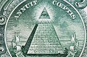stock photo of illuminati  - eye and american dollar mason pyramid macro - JPG