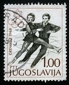 YUGOSLAVIA CIRCA 1968: A stamp printed in Yugoslavia shows Winter Olympic games in Grenoble, circa 1968