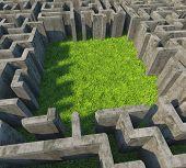 concrete maze over grass meadow