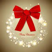 Guirlanda de Natal elegante com estrelas e arco. Vector