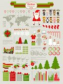 Christmas Infographic set with charts and other elements. Vector illustration.