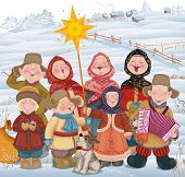 stock photo of accordion  - Young people and children in Russian village singing of Christmas carols in Christmastide - JPG