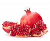 stock photo of exotic_food  - Ripe pomegranate fruit isolated on white background cutout - JPG