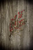 Old wooden background with christmas inducement