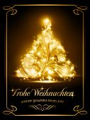 stock photo of weihnacht  - Warmly sparkling Christmas tree light effects on dark brown background with the text  - JPG