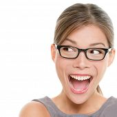 Excited woman looking sideways screaming of joy. Closeup of happy mixed race Asian Chinese / Caucasi