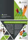 Green template for advertising brochure with business people over chart