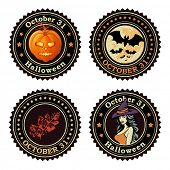 Happy Halloween seals / badges, vector