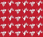 Red and white hypnotic background seamless pattern.