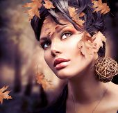 Autumn Woman. Fall. Beautiful Stylish Girl With Professional Makeup
