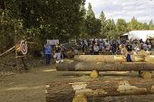 WEST POINT, CA - OCTOBER 6: Unidentified competitors in axe throwing event at the Lumberjack day, on
