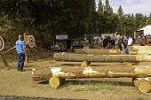 WEST POINT, CA - OCTOBER 6: Unidentified male & female competitors in the axe throwing event at the