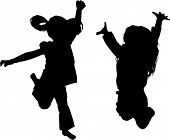 stock photo of exaltation  - Vector Silhouette of girl jumping up in the air - JPG