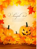 Pumpkin background with leaves. Halloween background. Vector.