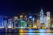 stock photo of highrises  - Hong Kong night - JPG