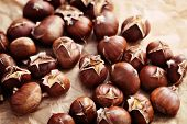stock photo of edible  - nice edible chestnuts  - JPG