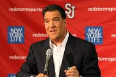 NEW YORK-OCT. 23: St. John's Red Storm head coach Steve Lavin speaks to the media on October 23, 201