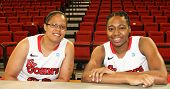 NEW YORK-OCT. 23: St. John's Red Storm forwards Mallory Jones (left) and Amber Thompson during media day on October 23, 2012 at Carnesecca Arena, Jamaica, Queens, New York.