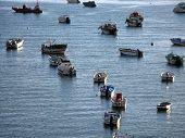 FERRAGUDO, PORTUGAL - 19 de outubro: Flutuador de barcos de pescadores ancorado ao longo das águas do Rio Arade