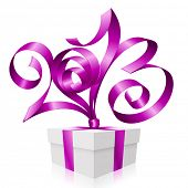 Vector purple ribbon in the shape of 2013 and gift box. Symbol of New Year