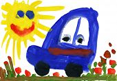 Child's drawing watercolor. Toy car on meadow and sun
