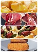 a collage of different spanish tapas, such as patatas bravas, pinchos de chorizo, jamon serrano or croquettes