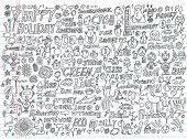 stock photo of squid  - Doodle Design Elements Vector Illustration Set - JPG