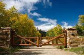 Log Gate With Mountain Vista
