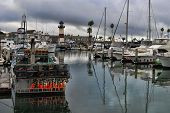 OCEANSIDE, CALIFORNIA - OCTOBER 21: Calm harbor waters as a storm passes through Southern California