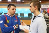 MOSCOW - JAN 12: E.Kravcov trainer of Moscow Dynamo of World Series of Boxing give interview in Pres