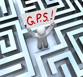 The word or acronym for G.P.S. - Global Positioning System on a sign held up by a person lost in a m