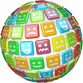 A sphere made of colored tiles showing faces displaying many moods, emotions and feelings from smili