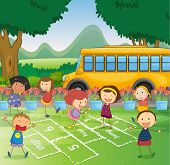 illustration of kids and a schoolbus in a beautiful nature