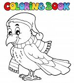Coloring book cartoon raven - vector illustration.