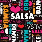 Seamless salsa and other dance type and style background pattern in vector