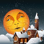Christmas illustration of smiling moon and snowy town