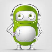 Cartoon Character Cute Robot Isolated on Grey Gradient Background. Listening to Music. Vector EPS 10