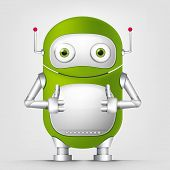 Cartoon Character Cute Robot Isolated on Grey Gradient Background. Cool. Vector EPS 10.
