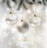 Shiny Christmas background with three evening balls