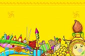 picture of deepavali  - illustration of Diwali doodle with different object - JPG