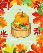 Polka dot design, autumn abstract floral background. Happy Thanksgiving beautiful card with Place fo