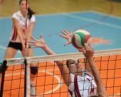 KAPOSVAR, HUNGARY - OCTOBER 7: Timea Kondor in action at the Hungarian I. League volleyball game Kap