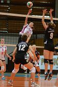 KAPOSVAR, HUNGARY - OCTOBER 7: Agnes Recsei (whith ball) in action at the Hungarian I. League volley