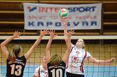 KAPOSVAR, HUNGARY - OCTOBER 7: Ildiko Szivos (R) in action at the Hungarian I. League volleyball gam
