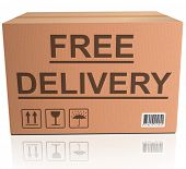 free delivery or package shipping order web shop shipment in cardboard box icon for online shopping