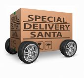 santa package special delivery for christmas present of gift surprise santa claus merry christmas sh