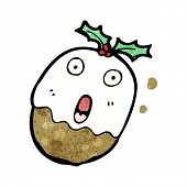 screaming christmas pudding cartoon