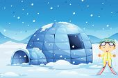 stock photo of igloo  - illustration of an igloo and a boy in nature - JPG